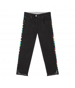 Jeans cu benzi laterale